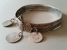 """GORGEOUS ANTIQUE OTTOMAN SILVER hand-knitted NECKLACE """"BITCH"""" with silver coins"""