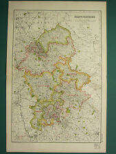 1920 COUNTY MAP of STAFFORDSHIRE ~ LICHFIELD CANNOCK WOLVERHAMPTON WALSALL etc
