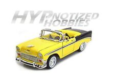 ROAD SIGNATURE 1:18 1956 CHEVROLET BEL AIR CONVERTIBLE DIE-CAST YELLOW 92128YLBK