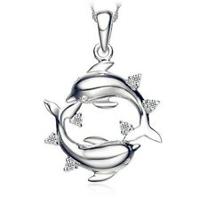 "Love Dolphins Heart Austrian Crystal Pendant Silver Necklace 18"" Chain Gift K33"