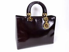 100% Authentic Christian Dior Lady Dior Leather Hand Bag Dark Brown G682