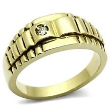 GIFTS FOR MEN Size 11 V Stainless Steel Gold Plated Ribbed Pattern with CZ Ring