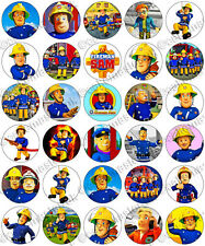 30 x Fireman Sam Edible Rice Wafer Paper Cupcake Toppers