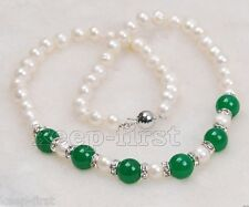 7-8mm Natural White Freshwater Pearl & 12mm Green Jade Gemstone Necklace 18""