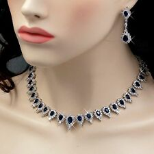 18K White Gold GP Sapphire Zirconia CZ Necklace Earrings Wedding Jewelry Set 834