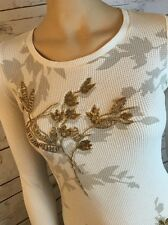 Lucky Brand Beaded Thermal Waffle Top S Small Ivory Gold Beaded Floral 3D