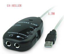 Electric Guitar to USB Interface Audio Link Cable For MAC/PC MP3 Recording XP