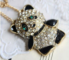 Vintage Look PANDA BEAR Sweater PENDANT / Long Necklace & Gold Tone Chain NEW