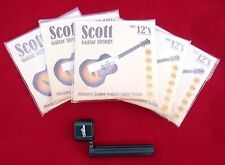 5 Packs Sets Scott Acoustic Guitar Strings 12s .012 Job Lot + FREE PEG WINDER