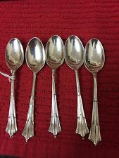 5 Solid Silver Art Deco Style Coffee Spoons
