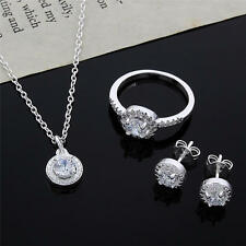 new direct 925 sterling silver necklace earring ring jewelry fashion women set