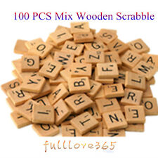 100 Mix Wooden Scrabble Tiles Letters Craft Alphabet Board Game Fun Toy Gift UK
