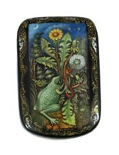 Russian Palekh Lacquer Box FROG & DANDELION #3930