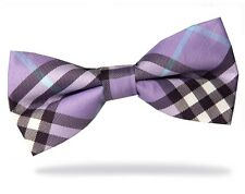 PRICED TO CLEAR!! Mens Pre-Tied Adjustable Plaid Check Polyester Bow Tie Purple