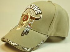 NEW! NATIVE AMERICAN BULL SKULL CAP HAT TAN