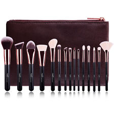 15pcs Makeup Brushes Set Professional Natural Hair Cosmetics Bag Brown Rose Gold