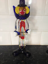 "11 & 3/4"" approx Murano Glass Clown - Red,Blue, Yellow pin stripe - 1950-1970"
