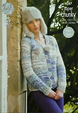 KNITTING PATTERN Ladies Long Sleeve V-Neck Easy Knit Cardigan Super Chunky 4287
