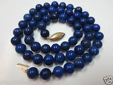 """Vintage 19"""" Knotted 8mm Lapis Beaded Necklace with 14k Gold Clasp"""