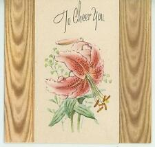 VINTAGE PINK ASIATIC GARDEN FLOWER LILY BOTANTICAL STAMENS CHEER CARD ART PRINT