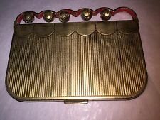 Vintage 1940s 40s Coty Sleighbells Powder & Rouge Brass Compact