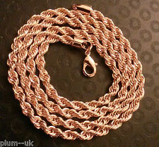 "GC019 14k ROSE GOLD FILLED twisted rope chains UNISEX necklaces 24"" / 60cm x 4mm"