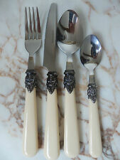 French Vintage Style Ornate Cutlery Set Traditional Cream Handles 24 Pieces