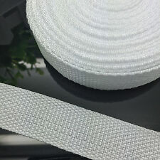 New 5 Yards Length 1 Inch (25mm) Width White Nylon Webbing Strapping P12