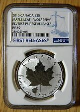 2016 $5 Canadian 1oz Silver Rev Proof Maple Wolf Privy NGC PF69, FREE S&H w/BIN