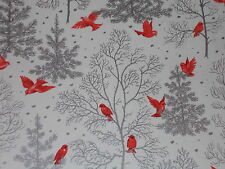 VTG CHRISTMAS WRAPPING PAPER GIFT WRAP MCM SILVER TREES RED BIRD CARDINAL WINTER