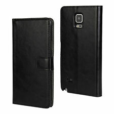 For Samsung Galaxy Note 4 Black Leather Cash Card Wallet Case Cover Stand