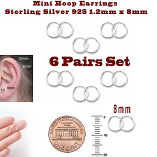 Mini Hoop Earrings Sterling Silver 925 1.2mm x 8mm 6 Pairs Set Super Small