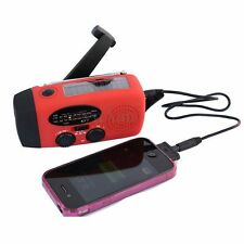 Emergency Manual Solar Wind Up 3 LED Flashlight Torch AM FM Radio Phone Charger