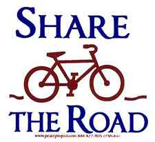 Share The Road - Magnetic Small Bicycling Bumper Sticker / Decal Magnet