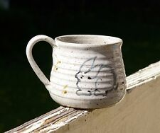 Hand Thrown Spun Speckled Pottery Art Coffee Mug Bunny Rabbit Signed by Artist