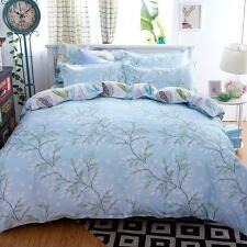 Sale Home Queen Size Bed Set Pillowcase Quilt Duvet Cover Light Blue Floral O
