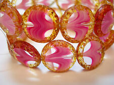 10 16mm Czech Glass Pink Blend Picasso Table cut Coin Beads