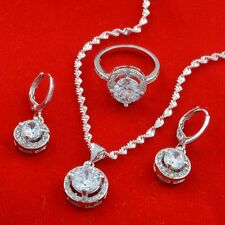 Jewelry set Round white zircon 925 fashion Necklace Pendant+earring+ring