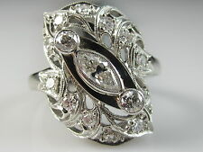 Art Deco Old European Cut Diamond Marquise Cluster Ring 14K White Gold Antique