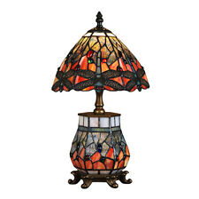 Tiffany Dragonfly Dual Table Lamp With Lamp in Base