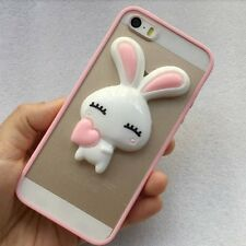 For iPhone SE 5S - HARD TPU RUBBER GUMMY SKIN CASE COVER 3D PINK BUNNY RABBIT