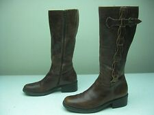 """DISTRESSED FASHION KNEE HIGH BROWN BRAZIL ZIP UP 16"""" RIDING BRUSH BOOTS SIZE 9M"""