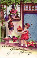 Geburtstag, Kinder mit Kuchen, Rosen, 30er Jahre
