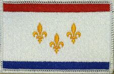 NEW ORLEANS FLAG Embroidered Iron-On PATCH  EMBLEM WHITE Border #02