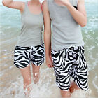 Fashion Mens Womens Lovers Beach Surf Board Swim Shorts Zebra Swimwear Pants
