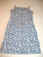 Willi Smith Stretch Blue & White Floral Spaghetti Strap Short Dress Size 6 Cute!