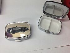 Alfa Romeo Spider Round Tail ref1  pewter effect car on silver metal pill box
