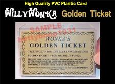 Willy Wonka GOLDEN TICKET - Printed on a PVC Plastic ID Card - UNIQUE GIFT - USA