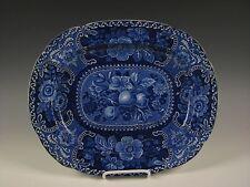 """Antique Dark Blue Staffordshire Fruit &Flower pattern 14&3/8"""" Platter circa 1825"""