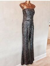 FRENCH CONNECTION SEQUIN BANDAU JUMPSUIT WITH FLARED LEG FUNKY BOHO VINTAGE